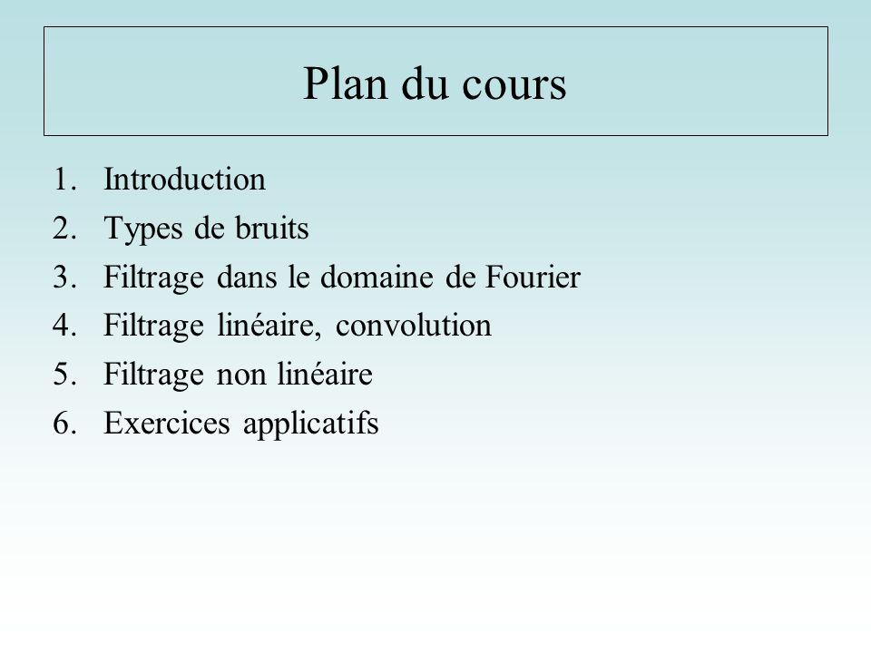 Plan du cours 1.Introduction 2.Types de bruits 3.Filtrage dans le domaine de Fourier 4.Filtrage linéaire, convolution 5.Filtrage non linéaire 6.Exerci