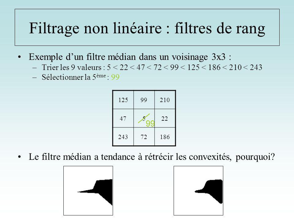 Exemple dun filtre médian dans un voisinage 3x3 : –Trier les 9 valeurs : 5 < 22 < 47 < 72 < 99 < 125 < 186 < 210 < 243 –Sélectionner la 5 ème : 99 Le