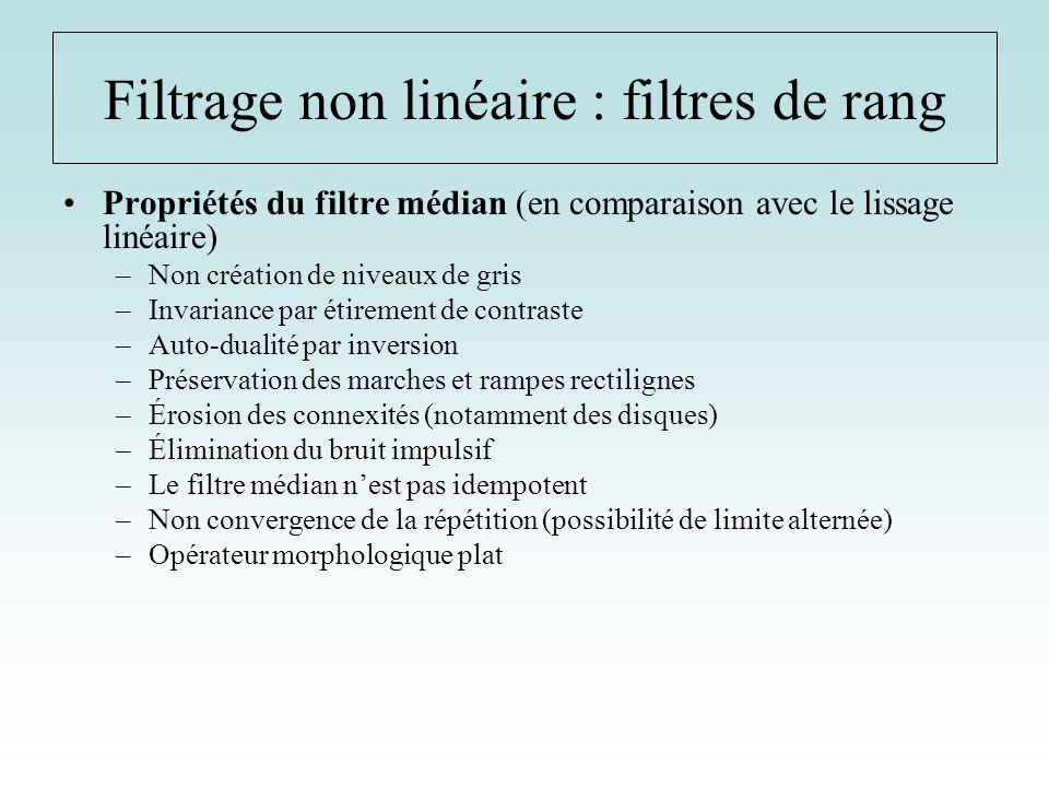 Propriétés du filtre médian (en comparaison avec le lissage linéaire) –Non création de niveaux de gris –Invariance par étirement de contraste –Auto-du