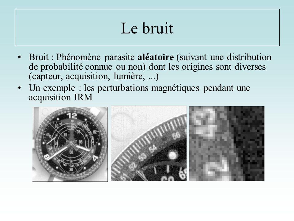 Le bruit Bruit : Phénomène parasite aléatoire (suivant une distribution de probabilité connue ou non) dont les origines sont diverses (capteur, acquis