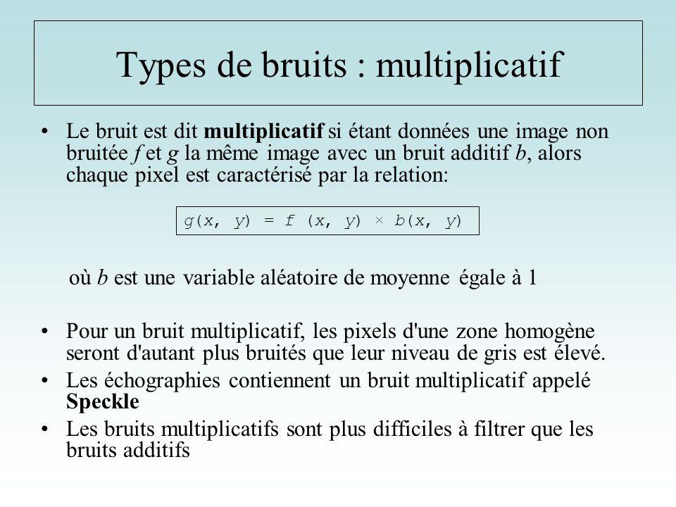 Le bruit est dit multiplicatif si étant données une image non bruitée f et g la même image avec un bruit additif b, alors chaque pixel est caractérisé