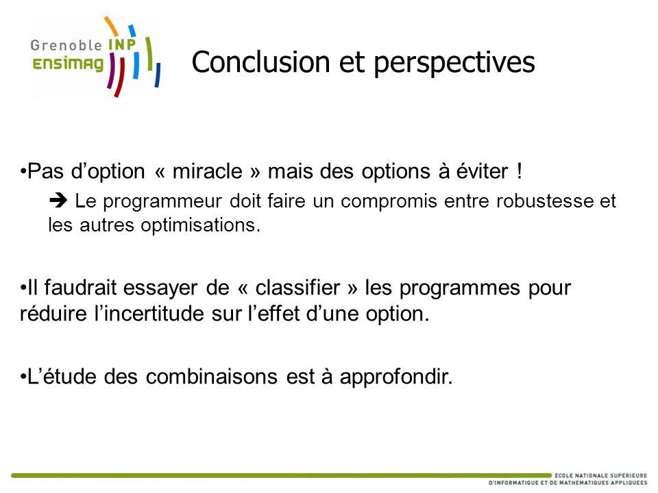 Conclusion et perspectives Pas doption « miracle » mais des options à éviter ! Le programmeur doit faire un compromis entre robustesse et les autres o