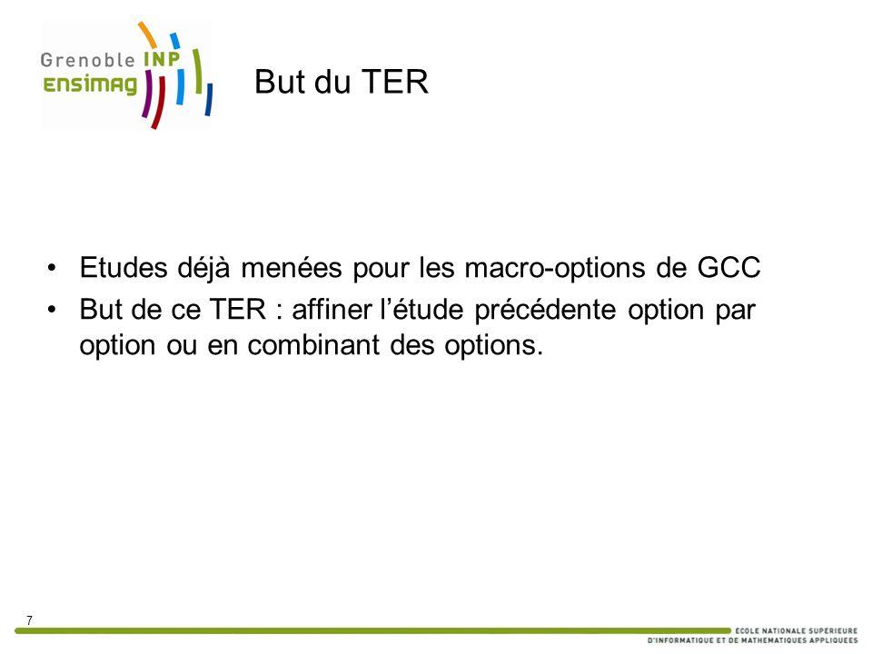 But du TER Etudes déjà menées pour les macro-options de GCC But de ce TER : affiner létude précédente option par option ou en combinant des options. 7