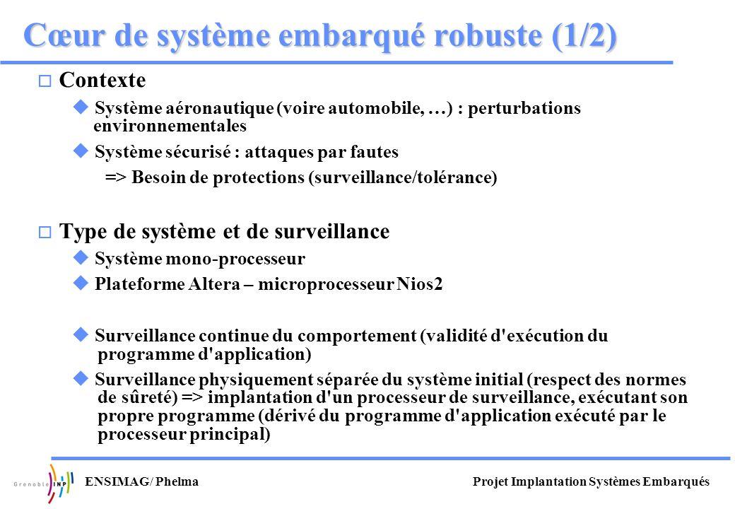 Projet Implantation Systèmes EmbarquésENSIMAG/ Phelma Cœur de système embarqué robuste (1/2) Contexte Système aéronautique (voire automobile, …) : per