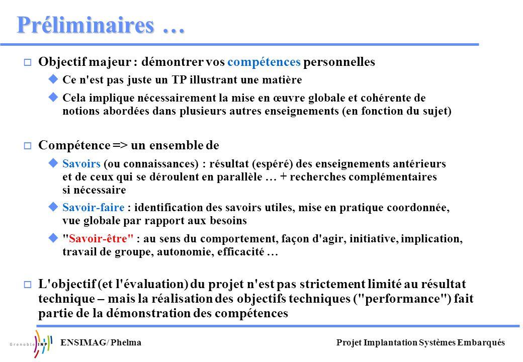 Projet Implantation Systèmes EmbarquésENSIMAG/ Phelma Préliminaires … Objectif majeur : démontrer vos compétences personnelles Ce n'est pas juste un T
