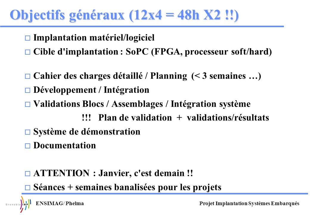Projet Implantation Systèmes EmbarquésENSIMAG/ Phelma Objectifs généraux (12x4 = 48h X2 !!) Implantation matériel/logiciel Cible d'implantation : SoPC