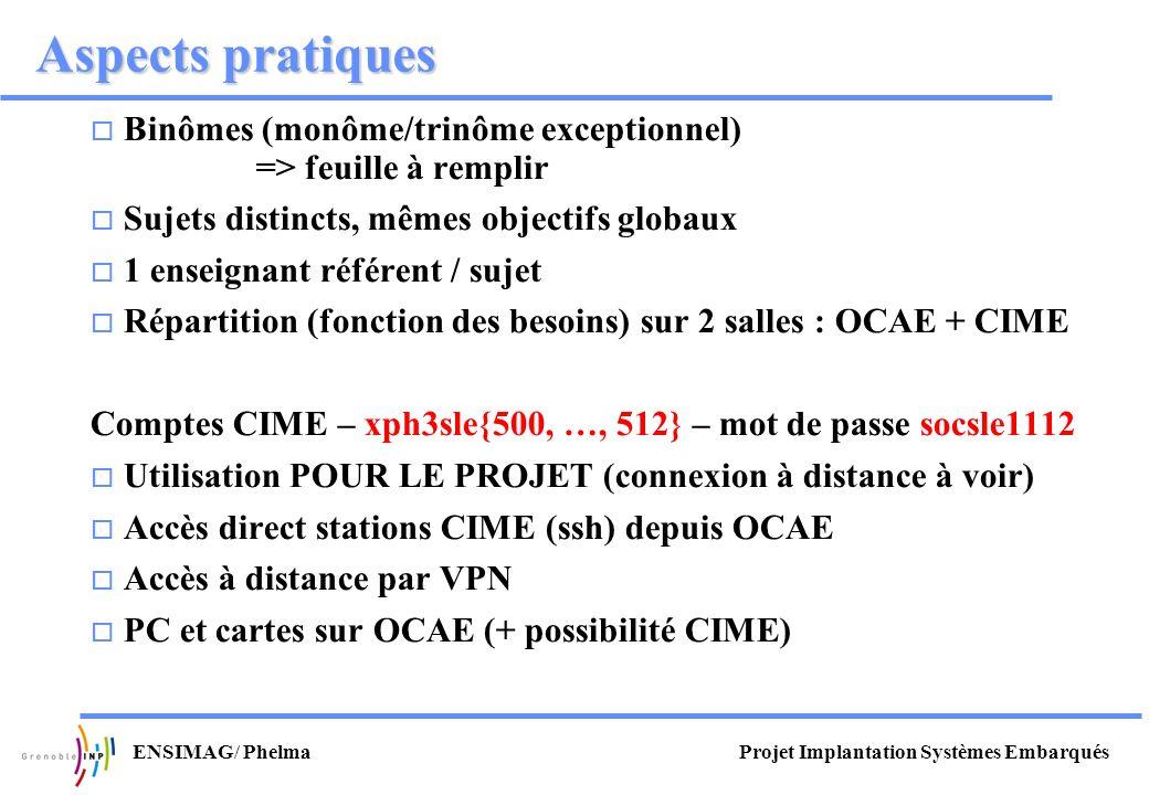 Projet Implantation Systèmes EmbarquésENSIMAG/ Phelma Aspects pratiques Binômes (monôme/trinôme exceptionnel) => feuille à remplir Sujets distincts, m