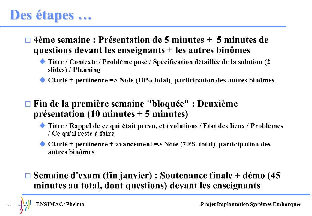 Projet Implantation Systèmes EmbarquésENSIMAG/ Phelma Des étapes … 4ème semaine : Présentation de 5 minutes + 5 minutes de questions devant les enseig