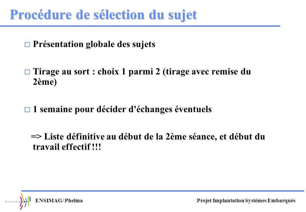Projet Implantation Systèmes EmbarquésENSIMAG/ Phelma Procédure de sélection du sujet Présentation globale des sujets Tirage au sort : choix 1 parmi 2
