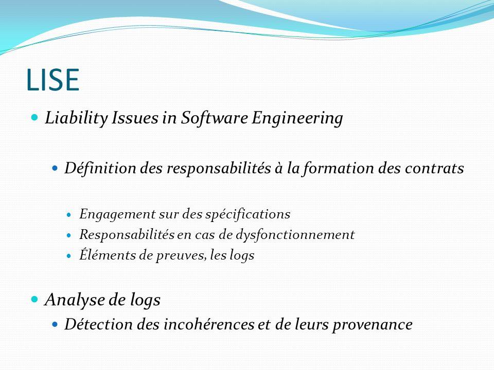LISE Liability Issues in Software Engineering Définition des responsabilités à la formation des contrats Engagement sur des spécifications Responsabil
