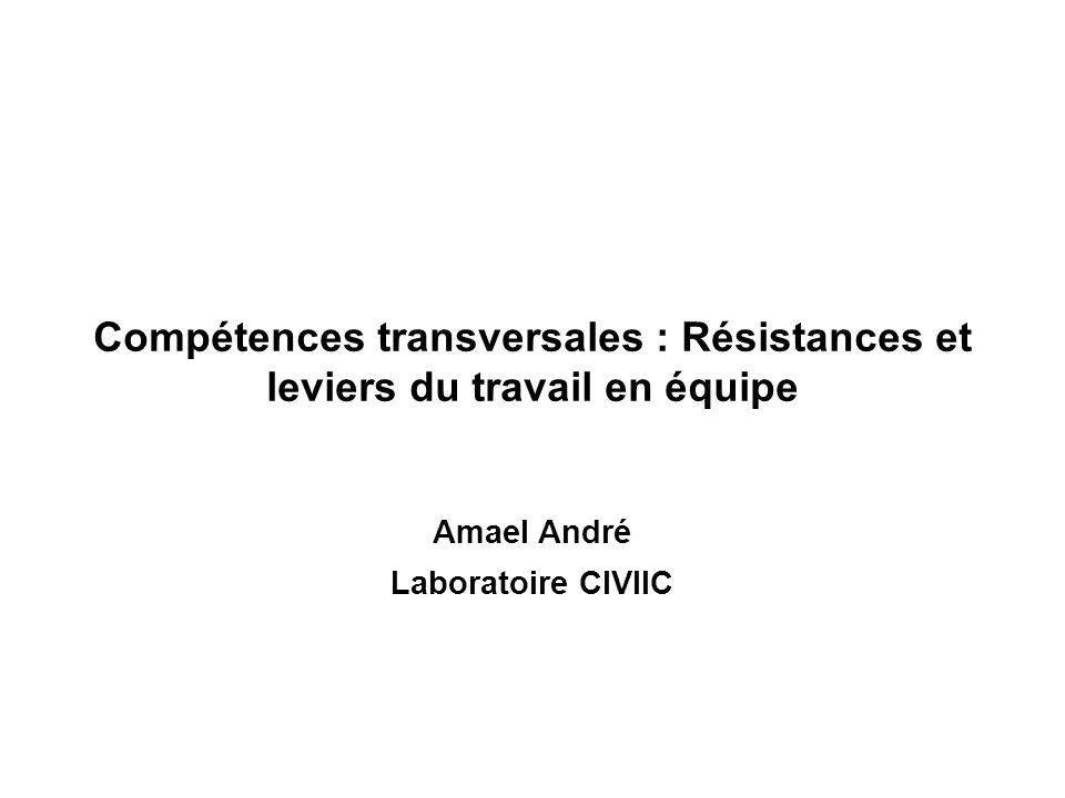 Compétences transversales : Résistances et leviers du travail en équipe Amael André Laboratoire CIVIIC