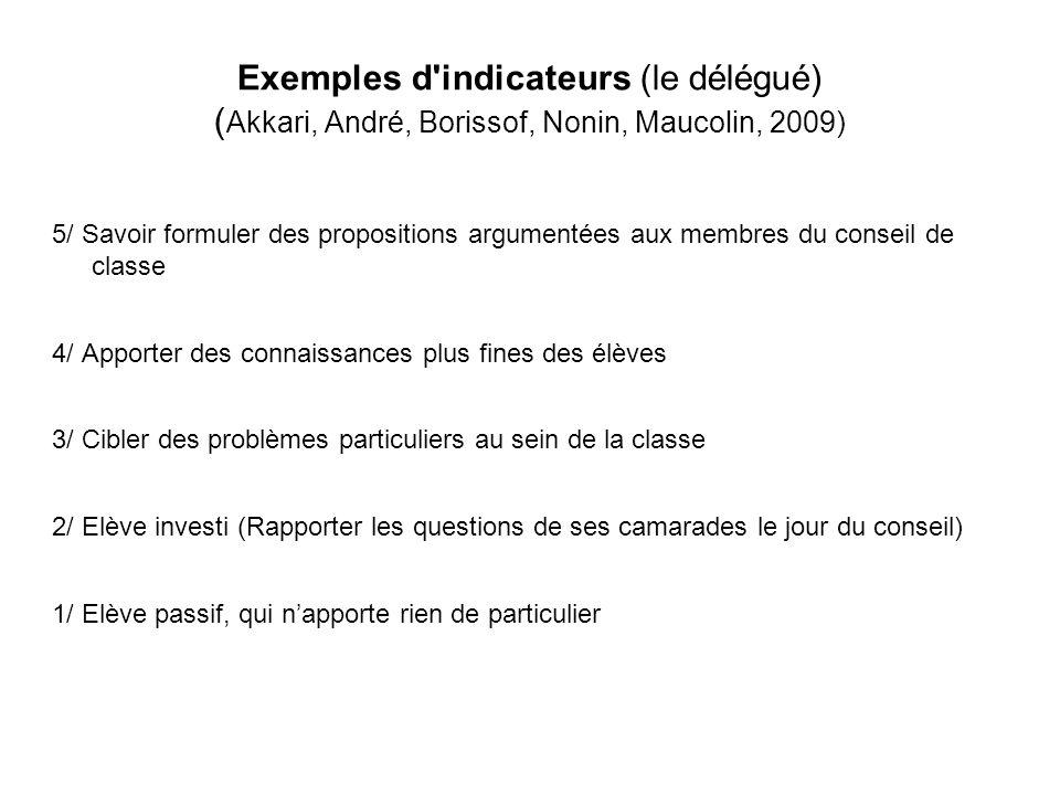 Exemples d'indicateurs (le délégué) ( Akkari, André, Borissof, Nonin, Maucolin, 2009) 5/ Savoir formuler des propositions argumentées aux membres du c