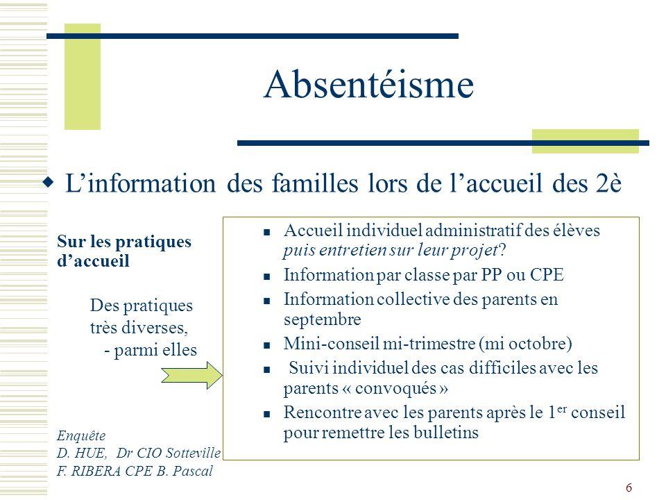 6 Absentéisme Accueil individuel administratif des élèves puis entretien sur leur projet? Information par classe par PP ou CPE Information collective