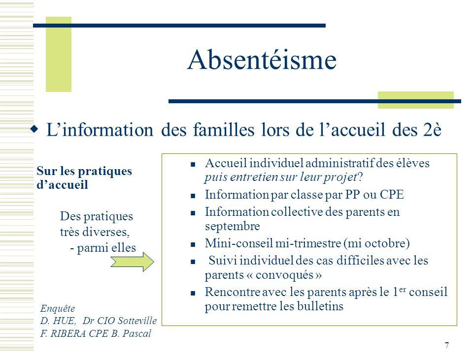 7 Absentéisme Accueil individuel administratif des élèves puis entretien sur leur projet? Information par classe par PP ou CPE Information collective