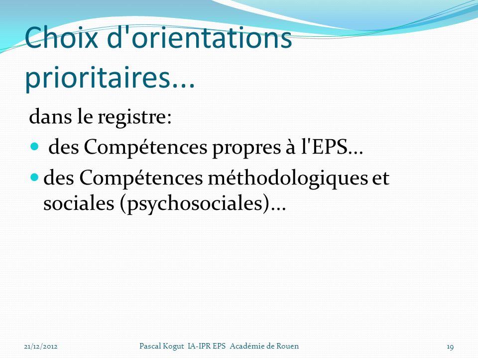 Choix d'orientations prioritaires... dans le registre: des Compétences propres à l'EPS... des Compétences méthodologiques et sociales (psychosociales)