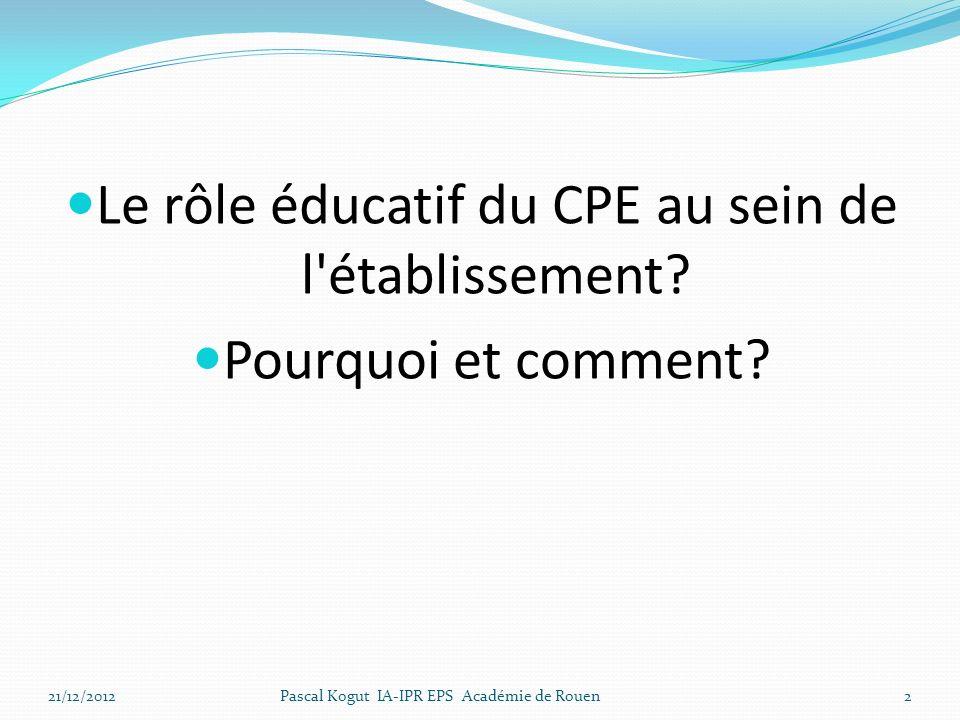 Le rôle éducatif du CPE au sein de l'établissement? Pourquoi et comment? 21/12/2012Pascal Kogut IA-IPR EPS Académie de Rouen2