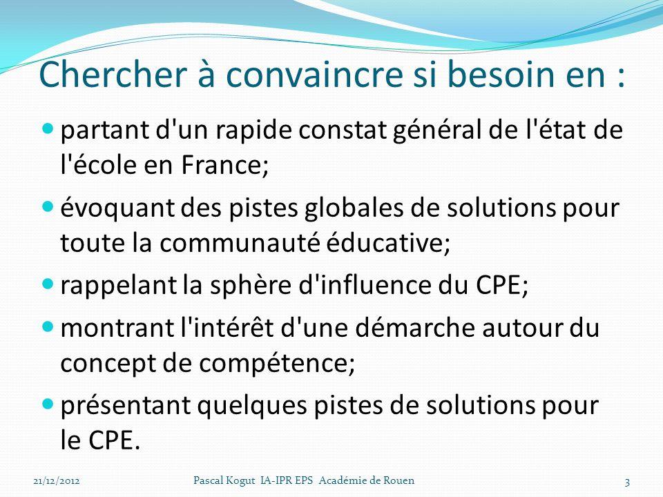 Chercher à convaincre si besoin en : partant d'un rapide constat général de l'état de l'école en France; évoquant des pistes globales de solutions pou