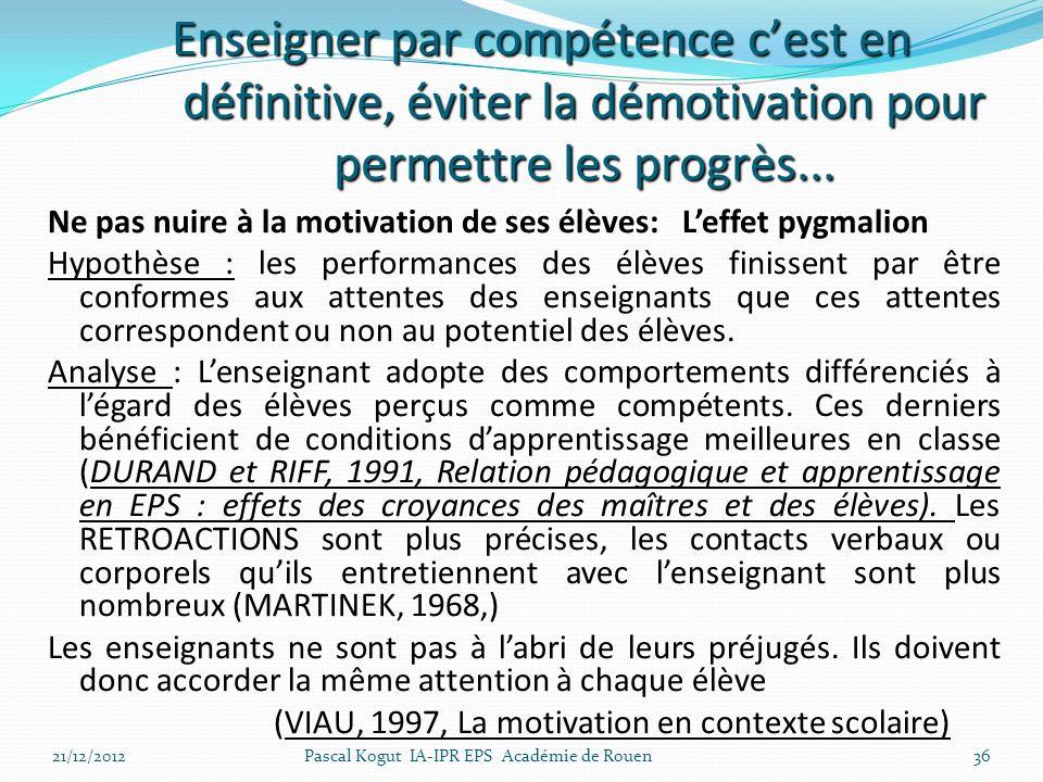 36 Ne pas nuire à la motivation de ses élèves: Leffet pygmalion Hypothèse : les performances des élèves finissent par être conformes aux attentes des