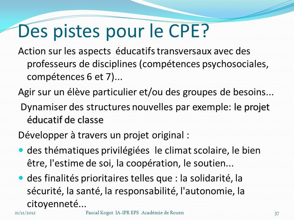 Des pistes pour le CPE? Action sur les aspects éducatifs transversaux avec des professeurs de disciplines (compétences psychosociales, compétences 6 e