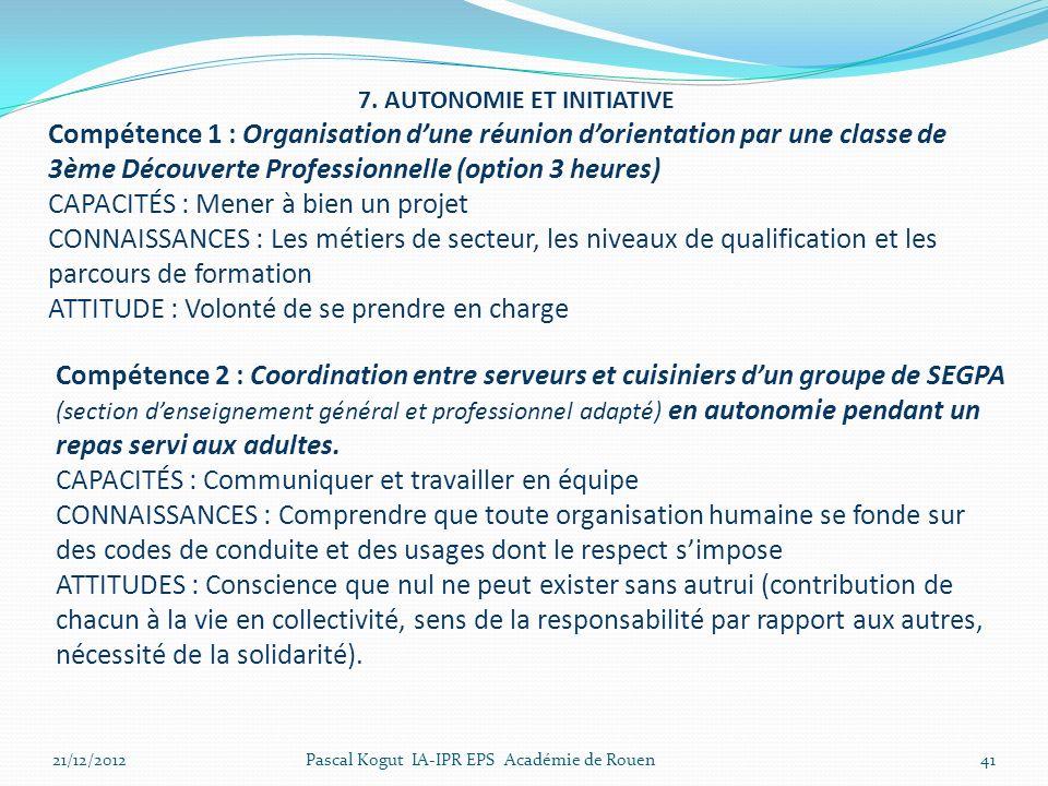 7. AUTONOMIE ET INITIATIVE Compétence 1 : Organisation dune réunion dorientation par une classe de 3ème Découverte Professionnelle (option 3 heures) C