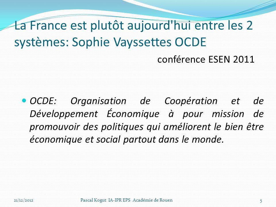 La France est plutôt aujourd'hui entre les 2 systèmes: Sophie Vayssettes OCDE conférence ESEN 2011 OCDE: Organisation de Coopération et de Développeme