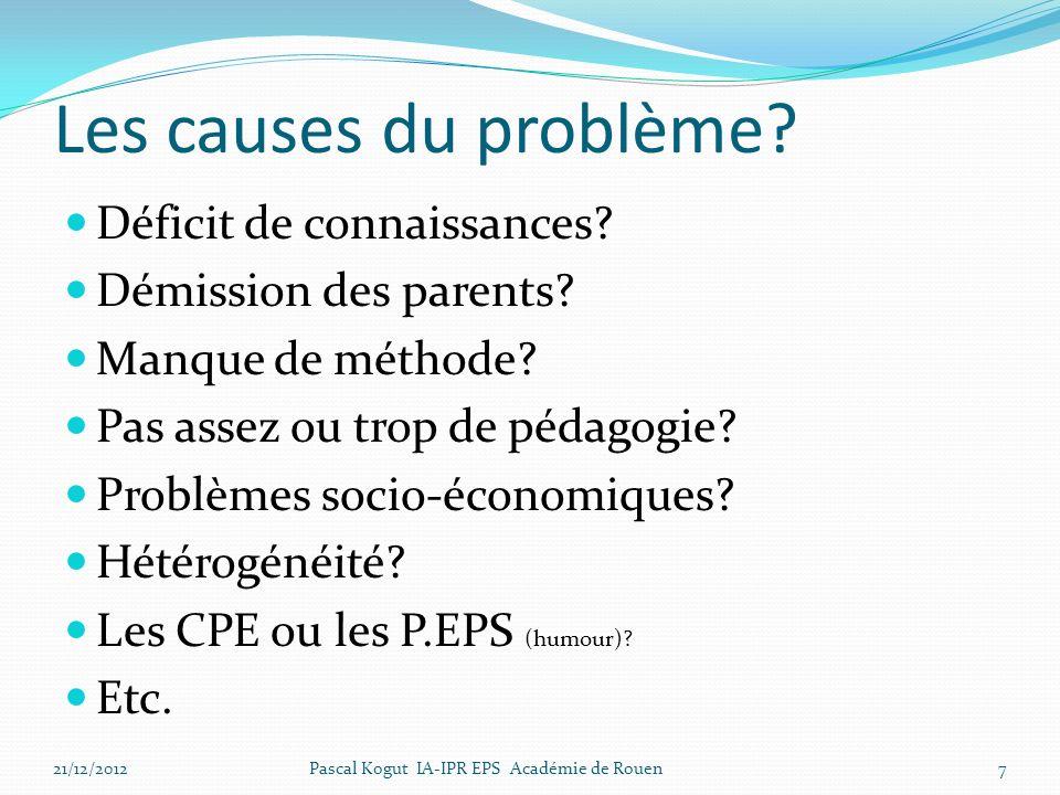 Les causes du problème? Déficit de connaissances? Démission des parents? Manque de méthode? Pas assez ou trop de pédagogie? Problèmes socio-économique