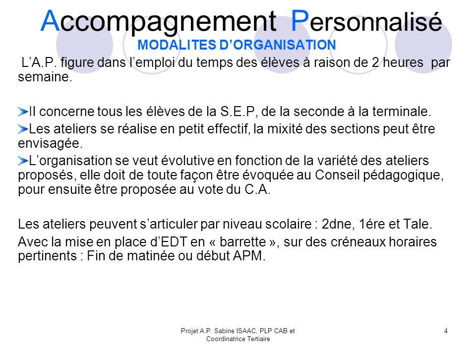 Projet A.P.Sabine ISAAC, PLP CAB et Coordinatrice Tertiaire 4 MODALITES DORGANISATION LA.P.