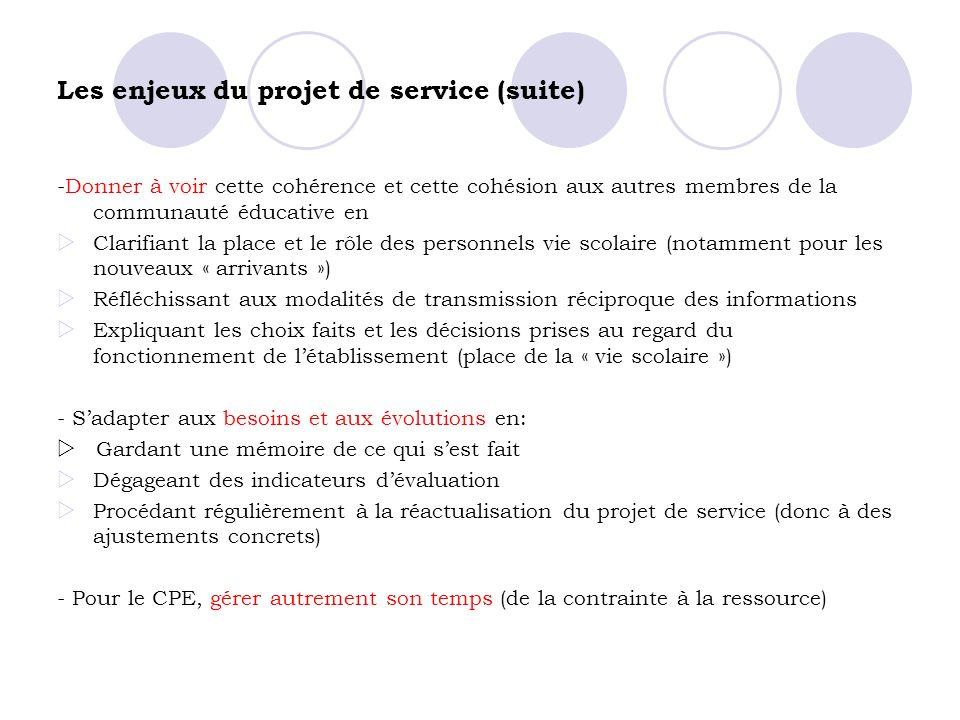 Les enjeux du projet de service (suite) -Donner à voir cette cohérence et cette cohésion aux autres membres de la communauté éducative en Clarifiant l