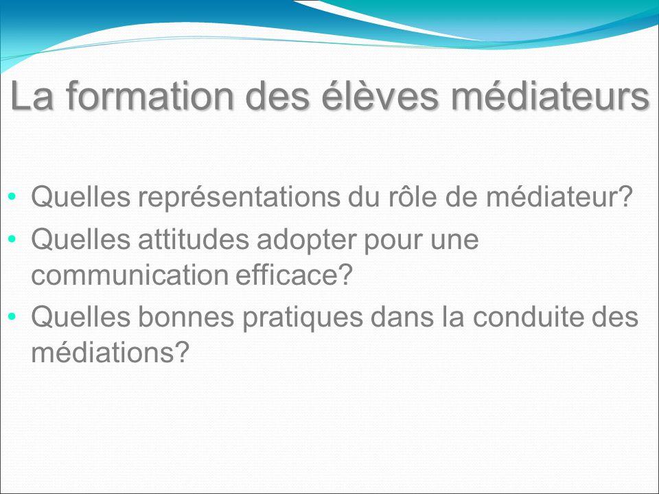 La formation des élèves médiateurs Quelles représentations du rôle de médiateur? Quelles attitudes adopter pour une communication efficace? Quelles bo