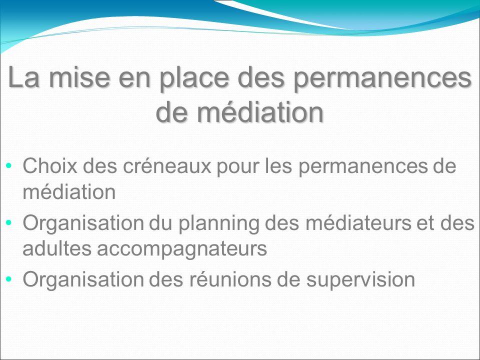 La mise en place des permanences de médiation Choix des créneaux pour les permanences de médiation Organisation du planning des médiateurs et des adul