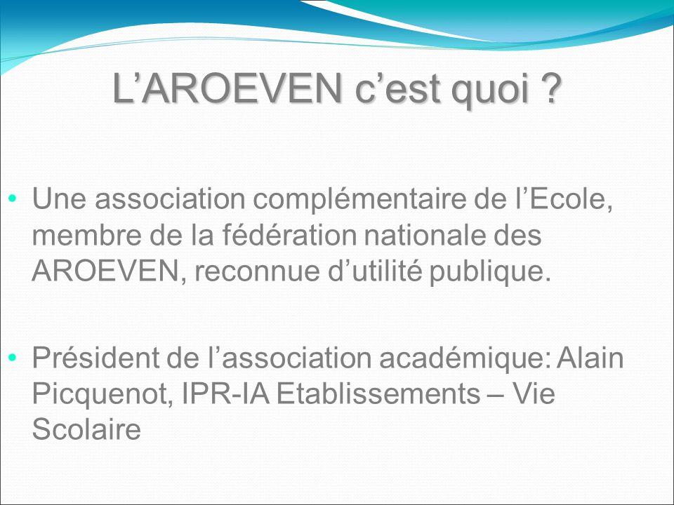 LAROEVEN cest quoi ? Une association complémentaire de lEcole, membre de la fédération nationale des AROEVEN, reconnue dutilité publique. Président de