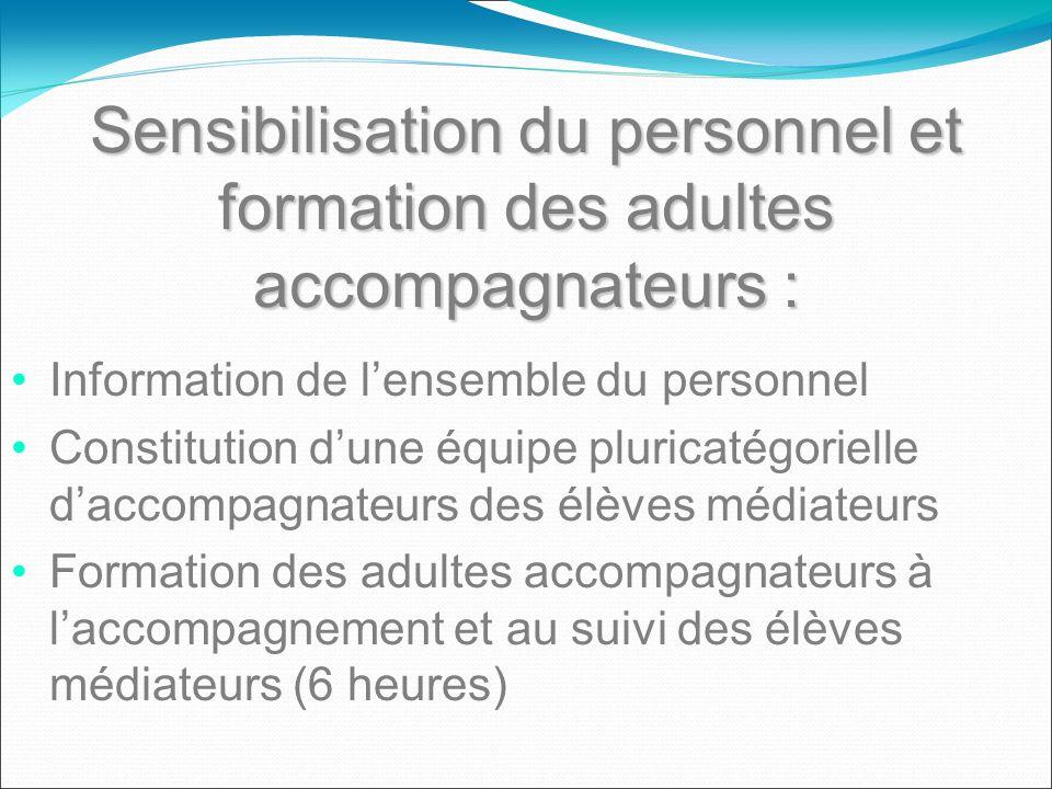 Sensibilisation du personnel et formation des adultes accompagnateurs : Information de lensemble du personnel Constitution dune équipe pluricatégoriel
