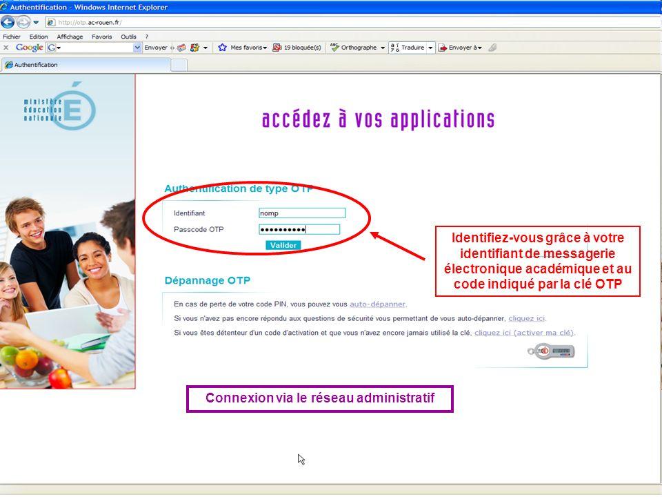 Connexion via le réseau administratif Identifiez-vous grâce à votre identifiant de messagerie électronique académique et au code indiqué par la clé OT