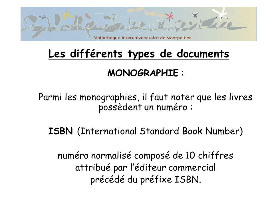MONOGRAPHIE : Parmi les monographies, il faut noter que les livres possèdent un numéro : ISBN (International Standard Book Number) numéro normalisé composé de 10 chiffres attribué par léditeur commercial précédé du préfixe ISBN.