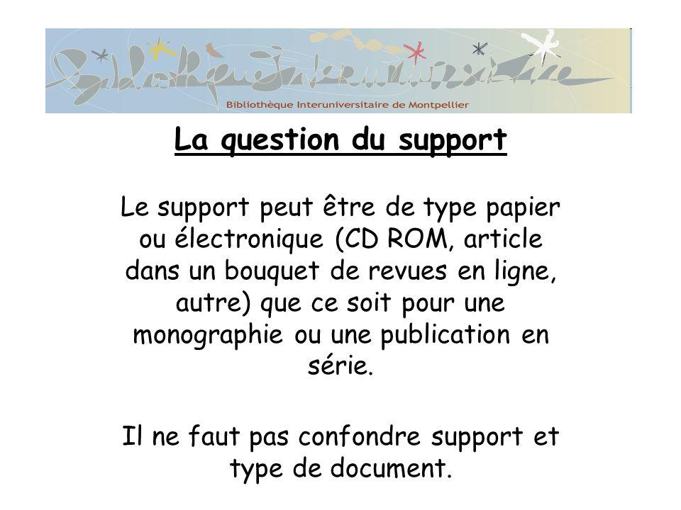 La question du support Le support peut être de type papier ou électronique (CD ROM, article dans un bouquet de revues en ligne, autre) que ce soit pour une monographie ou une publication en série.