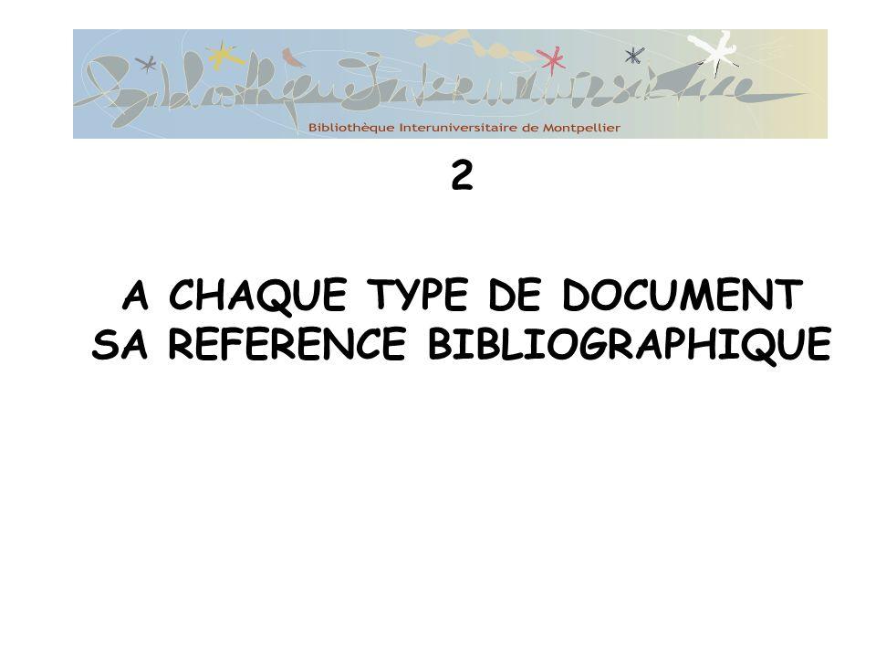 2 A CHAQUE TYPE DE DOCUMENT SA REFERENCE BIBLIOGRAPHIQUE