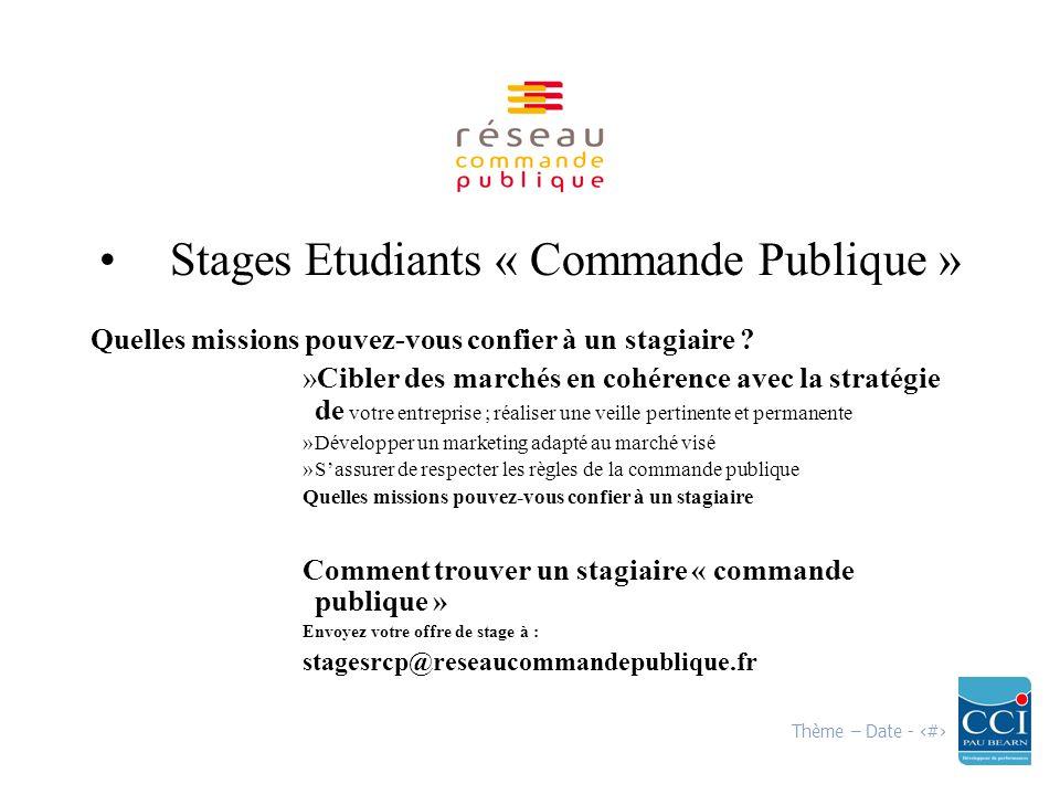 Thème – Date - 15 Stages Etudiants « Commande Publique » Quelles missions pouvez-vous confier à un stagiaire .