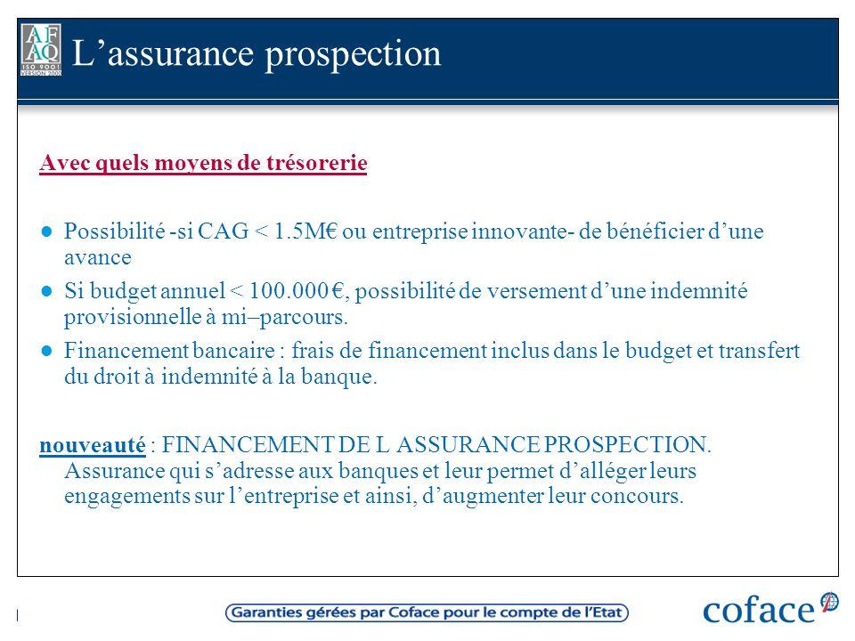 Avec quels moyens de trésorerie Possibilité -si CAG < 1.5M ou entreprise innovante- de bénéficier dune avance Si budget annuel < 100.000, possibilité de versement dune indemnité provisionnelle à mi–parcours.
