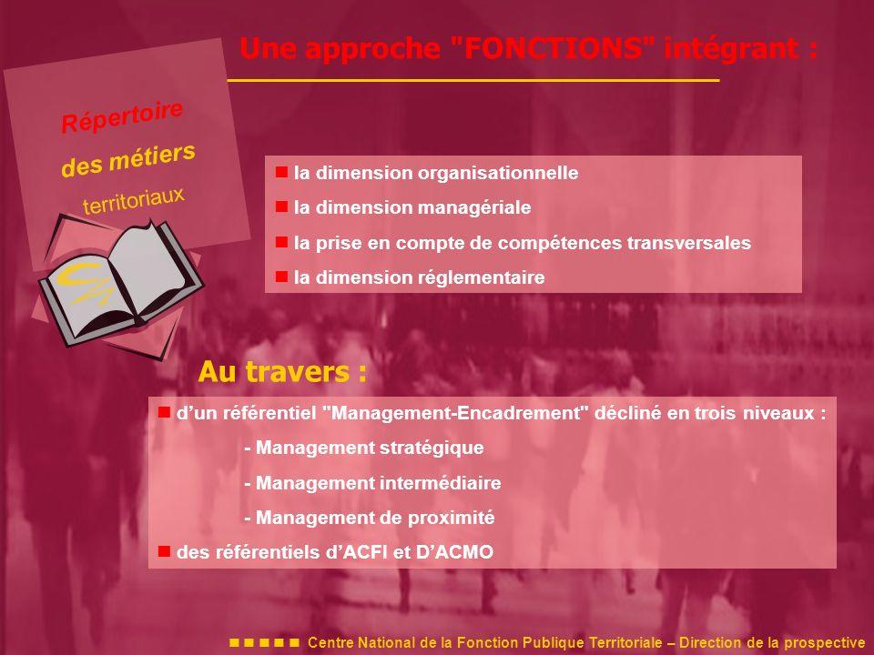 dun référentiel Management-Encadrement décliné en trois niveaux : - Management stratégique - Management intermédiaire - Management de proximité des référentiels dACFI et DACMO Une approche FONCTIONS intégrant : la dimension organisationnelle la dimension managériale la prise en compte de compétences transversales la dimension réglementaire Au travers : Répertoire des métiers territoriaux Centre National de la Fonction Publique Territoriale – Direction de la prospective
