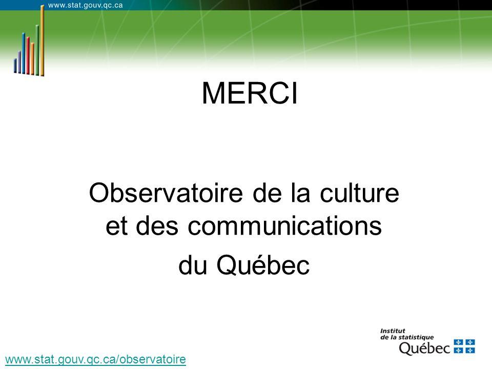 MERCI Observatoire de la culture et des communications du Québec www.stat.gouv.qc.ca/observatoire