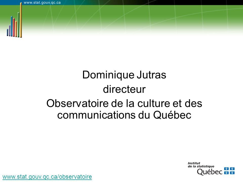 Dominique Jutras directeur Observatoire de la culture et des communications du Québec www.stat.gouv.qc.ca/observatoire