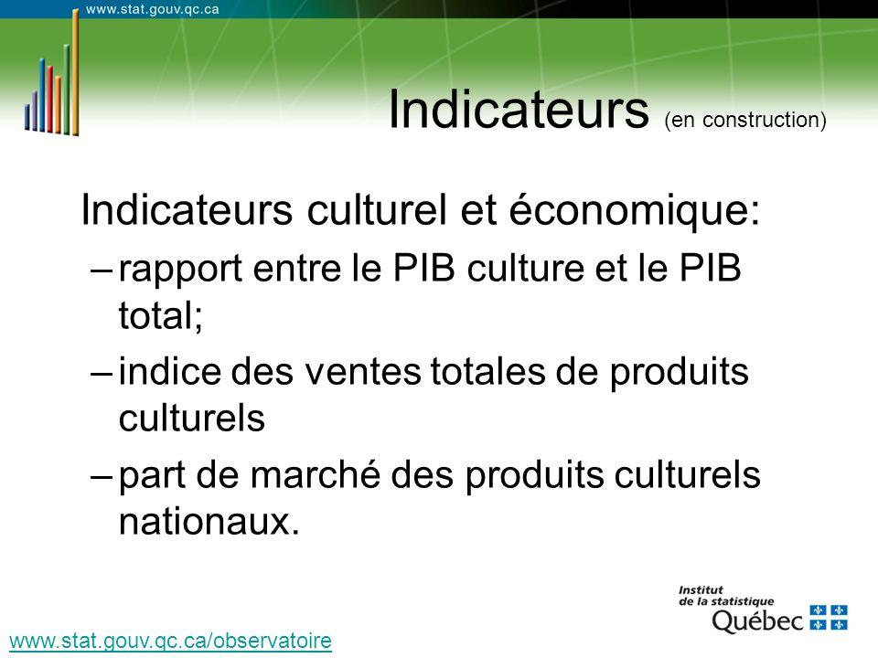 Indicateurs (en construction) Indicateurs culturel et économique: –rapport entre le PIB culture et le PIB total; –indice des ventes totales de produits culturels –part de marché des produits culturels nationaux.