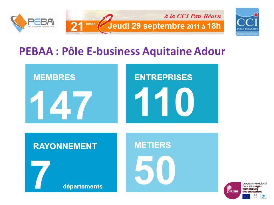 PEBAA : Pôle E-business Aquitaine Adour MEMBRES 147 ENTREPRISES 110 RAYONNEMENT METIERS 50 7 départements