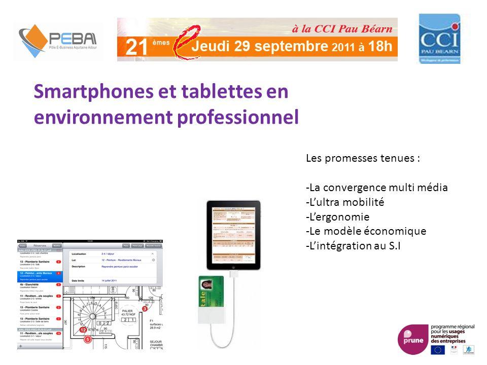Smartphones et tablettes en environnement professionnel Les promesses tenues : -La convergence multi média -Lultra mobilité -Lergonomie -Le modèle économique -Lintégration au S.I