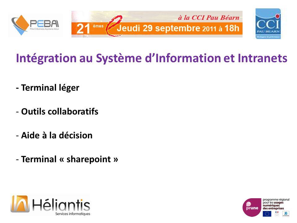Intégration au Système dInformation et Intranets - Terminal léger - Outils collaboratifs - Aide à la décision - Terminal « sharepoint »