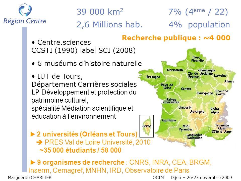 Répartition des différents acteurs de la CST Marguerite CHARLIER OCIM Dijon – 26-27 novembre 2009 Axe ligérien 61 14 43 2 35 3 51 63 41 5 77 72 Asso R Asso comprend des associations (111), des musées (117), muséums, bibliothèques...
