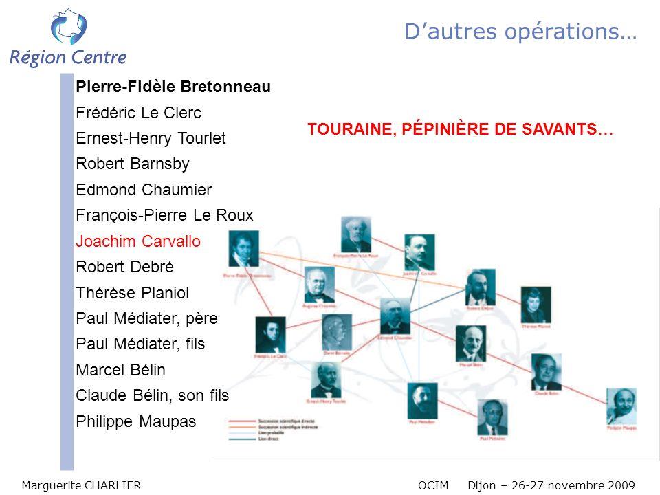 Marguerite CHARLIER OCIM Dijon – 26-27 novembre 2009 Dautres opérations… TOURAINE, PÉPINIÈRE DE SAVANTS… Pierre-Fidèle Bretonneau Frédéric Le Clerc Er