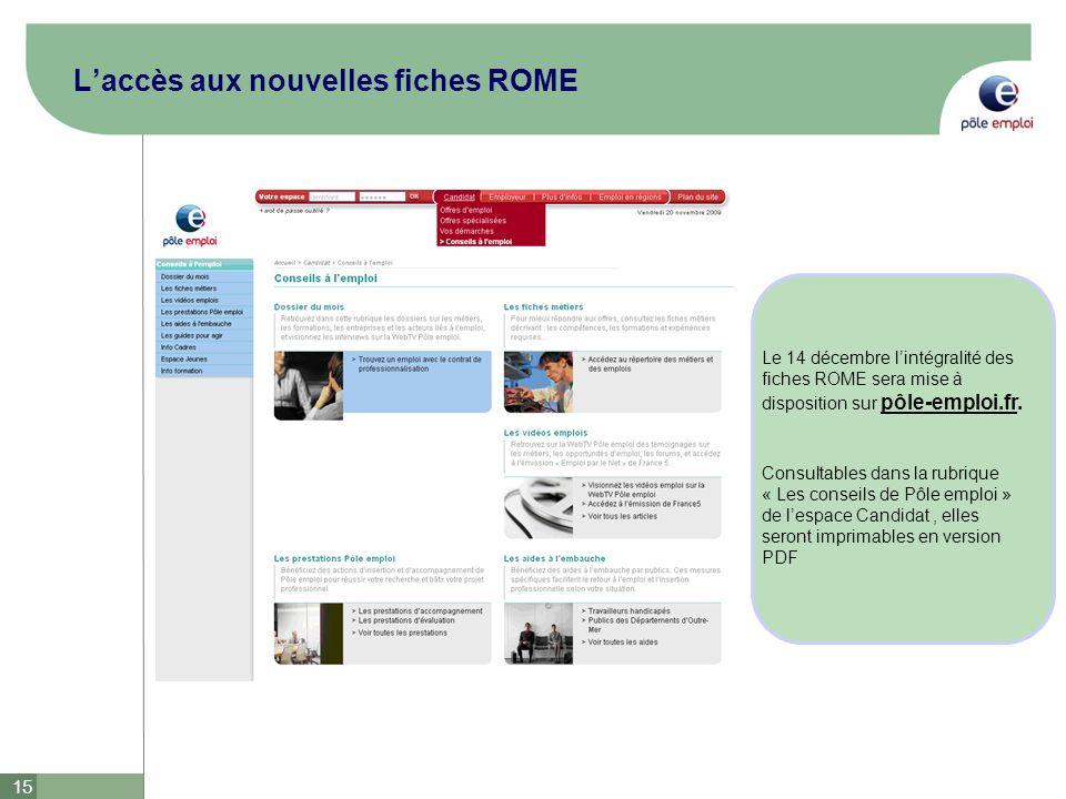 15 Laccès aux nouvelles fiches ROME Le 14 décembre lintégralité des fiches ROME sera mise à disposition sur pôle-emploi.fr. Consultables dans la rubri