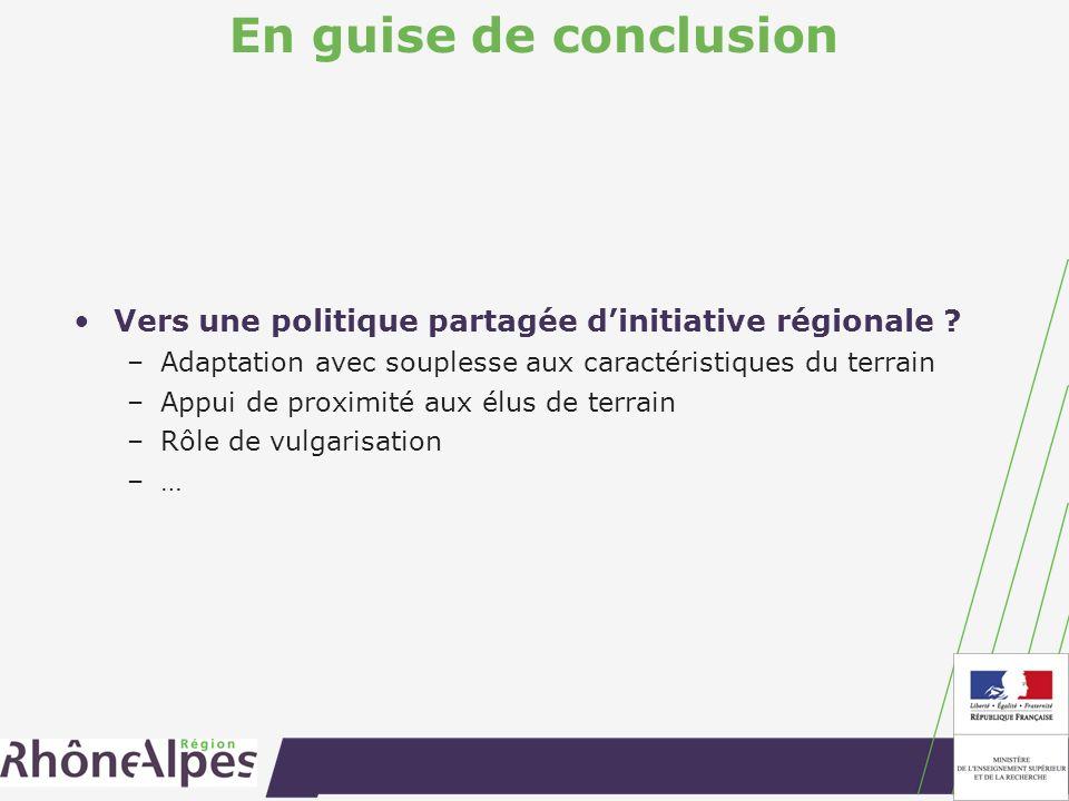 En guise de conclusion Vers une politique partagée dinitiative régionale .