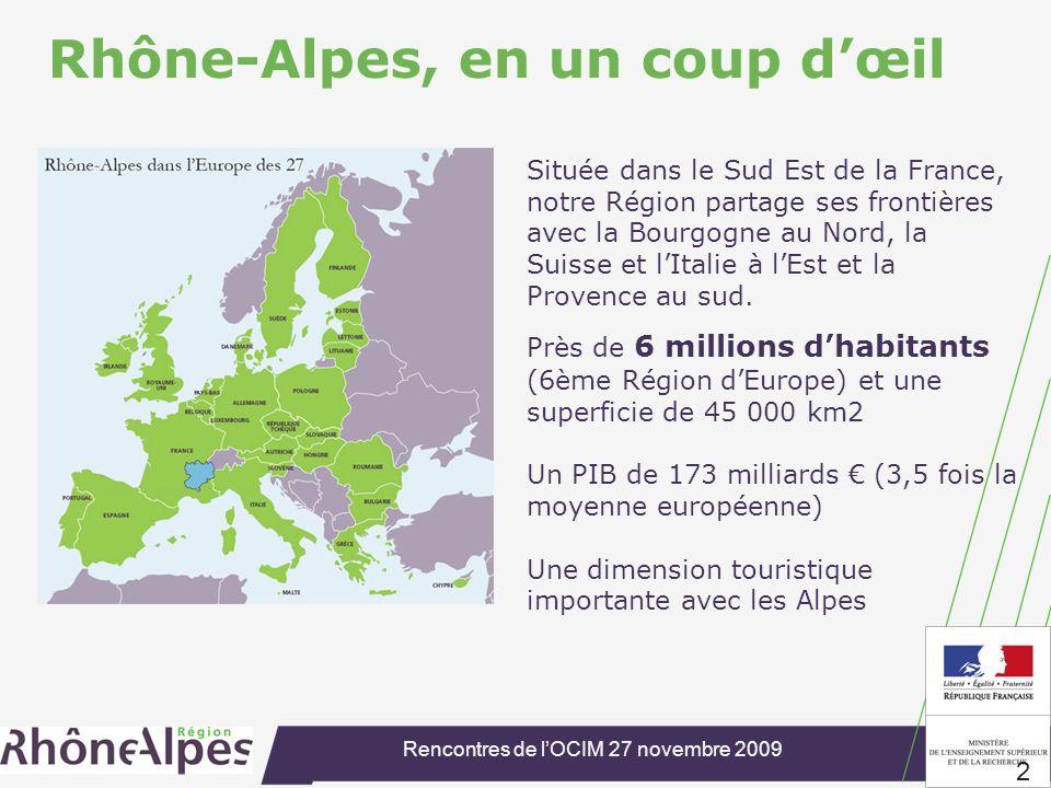 Rencontres de lOCIM 27 novembre 2009 2 Rhône-Alpes, en un coup dœil Située dans le Sud Est de la France, notre Région partage ses frontières avec la Bourgogne au Nord, la Suisse et lItalie à lEst et la Provence au sud.